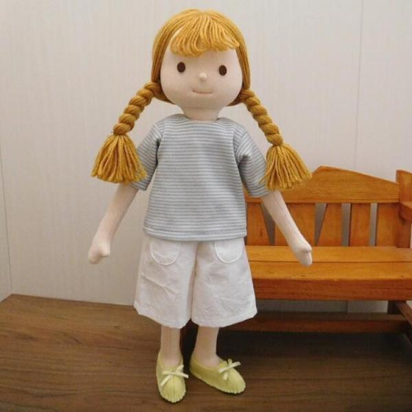 手作り 布製 人形 女の子 布人形 ボーダーTシャツ エプロン マルシェバッグ 女の子 セット 34cmサイズ|mixjam-store|02
