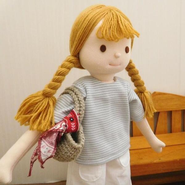 手作り 布製 人形 女の子 布人形 ボーダーTシャツ エプロン マルシェバッグ 女の子 セット 34cmサイズ|mixjam-store|11