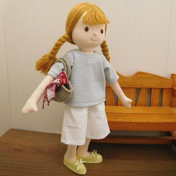 手作り 布製 人形 女の子 布人形 ボーダーTシャツ エプロン マルシェバッグ 女の子 セット 34cmサイズ|mixjam-store|12