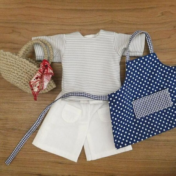 手作り 布製 人形 女の子 布人形 ボーダーTシャツ エプロン マルシェバッグ 女の子 セット 34cmサイズ|mixjam-store|13