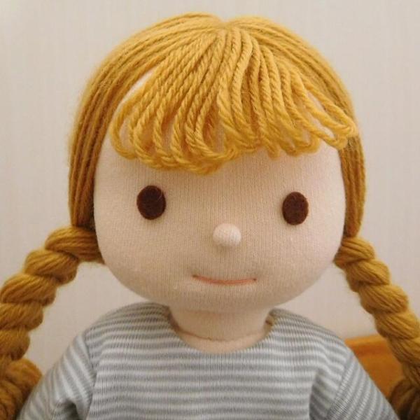 手作り 布製 人形 女の子 布人形 ボーダーTシャツ エプロン マルシェバッグ 女の子 セット 34cmサイズ|mixjam-store|03