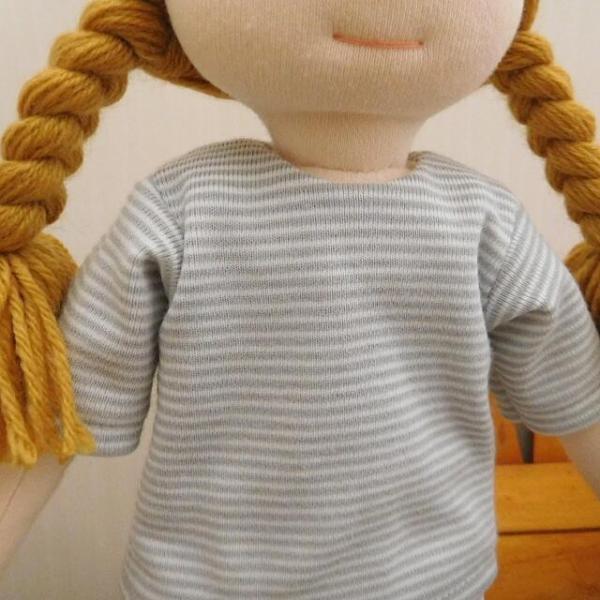 手作り 布製 人形 女の子 布人形 ボーダーTシャツ エプロン マルシェバッグ 女の子 セット 34cmサイズ|mixjam-store|04