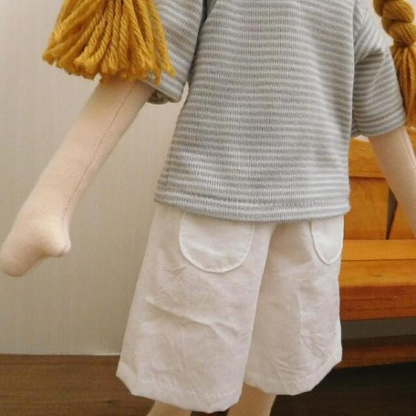 手作り 布製 人形 女の子 布人形 ボーダーTシャツ エプロン マルシェバッグ 女の子 セット 34cmサイズ|mixjam-store|05