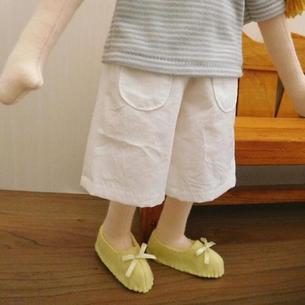 手作り 布製 人形 女の子 布人形 ボーダーTシャツ エプロン マルシェバッグ 女の子 セット 34cmサイズ|mixjam-store|06