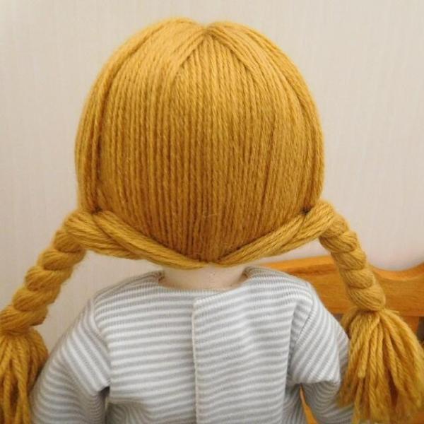 手作り 布製 人形 女の子 布人形 ボーダーTシャツ エプロン マルシェバッグ 女の子 セット 34cmサイズ|mixjam-store|07
