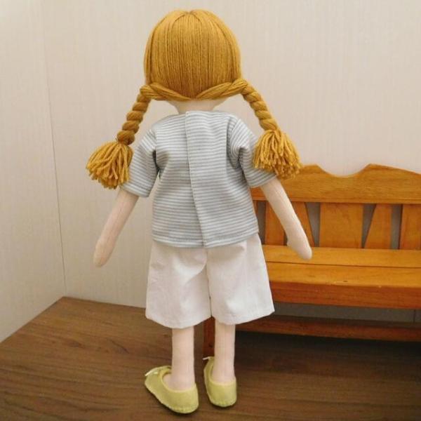 手作り 布製 人形 女の子 布人形 ボーダーTシャツ エプロン マルシェバッグ 女の子 セット 34cmサイズ|mixjam-store|08