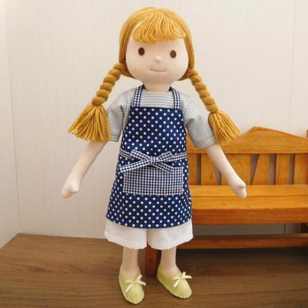 手作り 布製 人形 女の子 布人形 ボーダーTシャツ エプロン マルシェバッグ 女の子 セット 34cmサイズ|mixjam-store|09