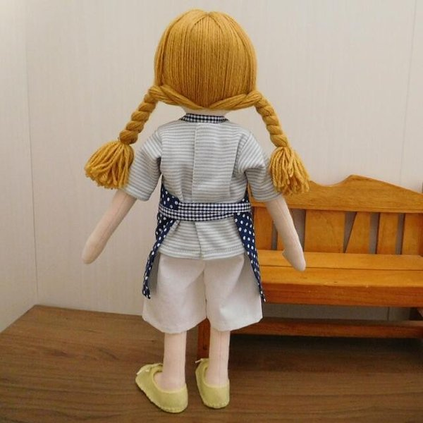 手作り 布製 人形 女の子 布人形 ボーダーTシャツ エプロン マルシェバッグ 女の子 セット 34cmサイズ|mixjam-store|10