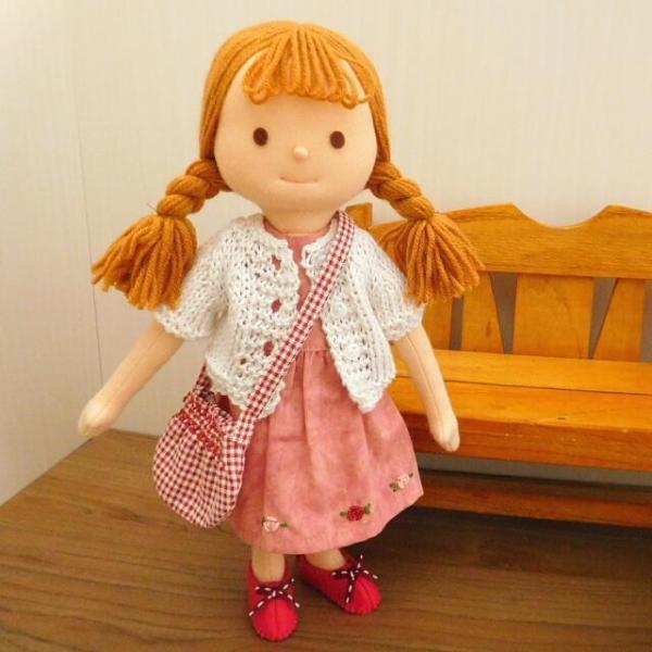 布のお人形 着せ替え 28cmサイズ 人形 ピンクのワンピース カーディガン セット|mixjam-store