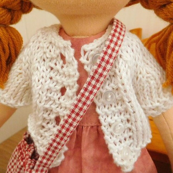 布のお人形 着せ替え 28cmサイズ 人形 ピンクのワンピース カーディガン セット|mixjam-store|03