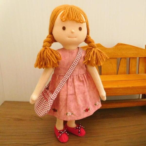 布のお人形 着せ替え 28cmサイズ 人形 ピンクのワンピース カーディガン セット|mixjam-store|04