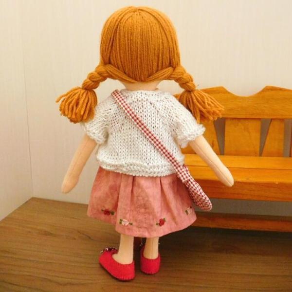 布のお人形 着せ替え 28cmサイズ 人形 ピンクのワンピース カーディガン セット|mixjam-store|08