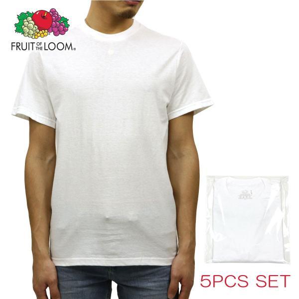 【エントリーで5%付与 4/6 0:00〜4/9 23:59】 フルーツオブザルーム FRUIT OF THE LOOM クルーネックTシャツ 5Pack ホワイト|mixon
