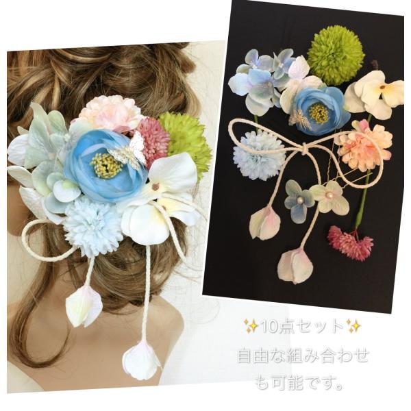 F161112K30【10点セット】ホワイト&青・髪飾り・ヘッドドレス・成人式・卒業式・結婚式・パーディー・和婚
