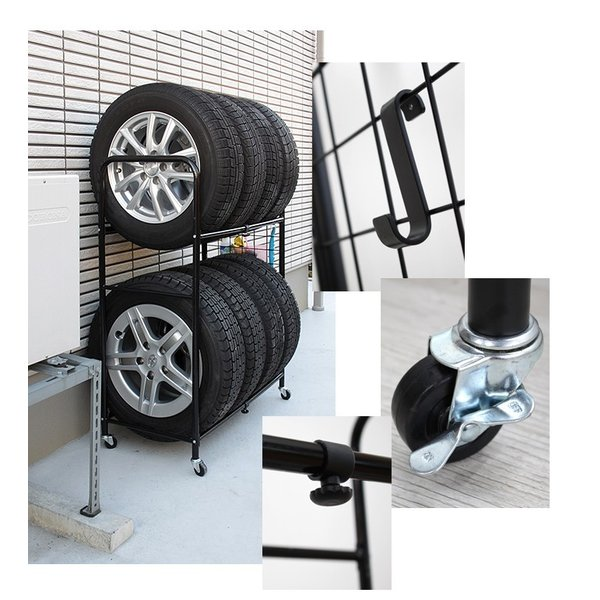 伸縮式タイヤラック(カバー付)/ タイヤ収納 8本 4本 車種 対応 縦 2段 軽 miyaguchi 03