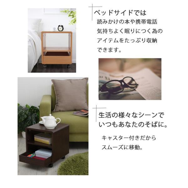 サイドテーブル キャスター付き 木製  万能ワゴン シンプルミニボード|miyaguchi|03