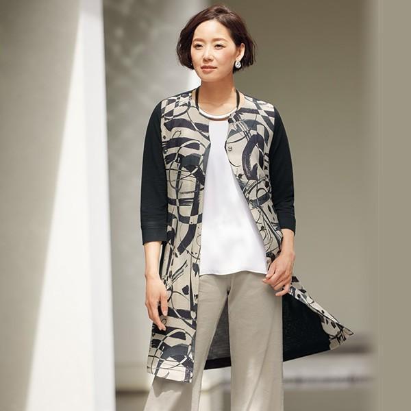麻&綿プリント使いロングジャケット 50代 60代 70代 ファッション シニア ミセス