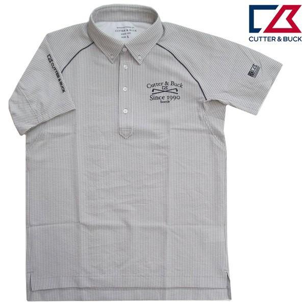 ゴルフボタンダウンシャツ半袖 カッターアンドバック ゴルフウエア ゴルフシャツ CGMLJA70 GY グレー Mサイズ