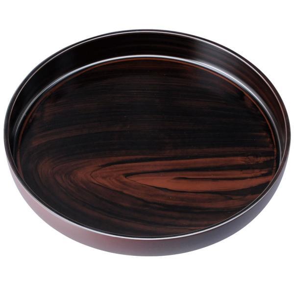 紀州塗り お盆 トレー 10寸 30cm 丸盆 黒丹杢 ノンスリップ 和風 和室 おしゃれ 木目調 トレイ 日本製