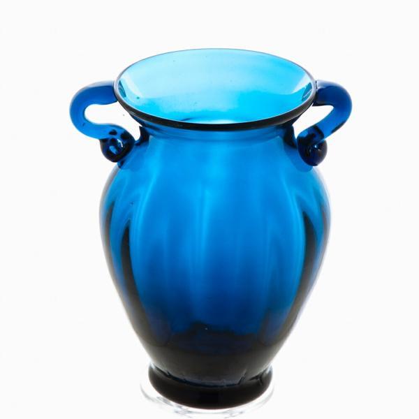 ガラス花瓶 ダブルイヤー ブルー フラワーベース 小|miyoshi-ya|02