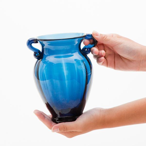 ガラス花瓶 ダブルイヤー ブルー フラワーベース 小|miyoshi-ya|04