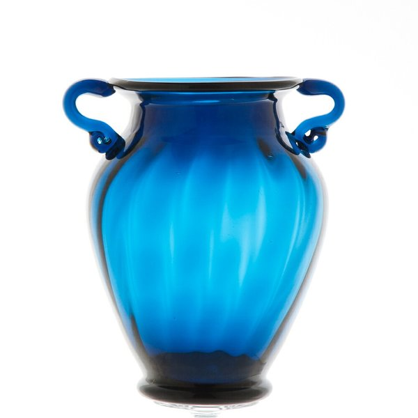 ガラス花瓶 ダブルイヤー ブルー フラワーベース 大|miyoshi-ya