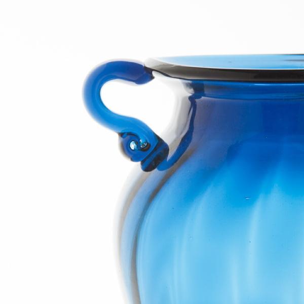 ガラス花瓶 ダブルイヤー ブルー フラワーベース 大|miyoshi-ya|03