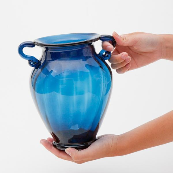 ガラス花瓶 ダブルイヤー ブルー フラワーベース 大|miyoshi-ya|04