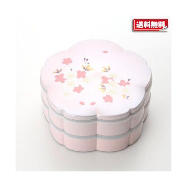 紀州塗り 桜型 二段オードブル 桜花 パールピンク
