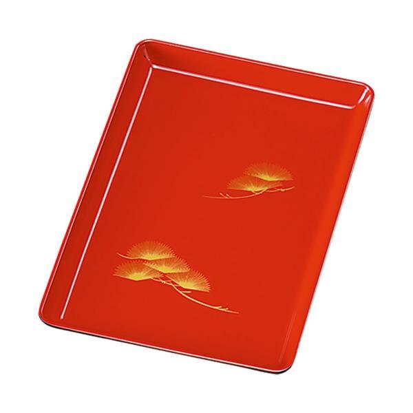 日本製 紀州塗り 切手盆 8寸 24cm お盆 トレー 和 おしゃれ 木質 朱 松 祝儀盆 進物盆 お祝い 国産