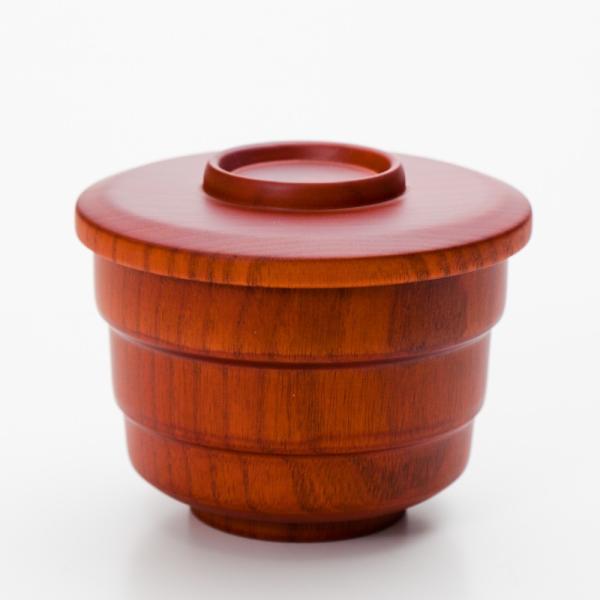 天然木製 蓋付き飯椀 ライトブラウン