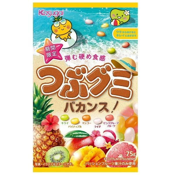 つぶグミ バカンス 75g×6袋入り 5つのトロピカルフルーツ 春日井製菓