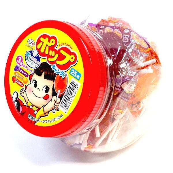 ポップキャンディ容器入り 不二家 25本入り×1ポット ペコちゃんポップキャンデー