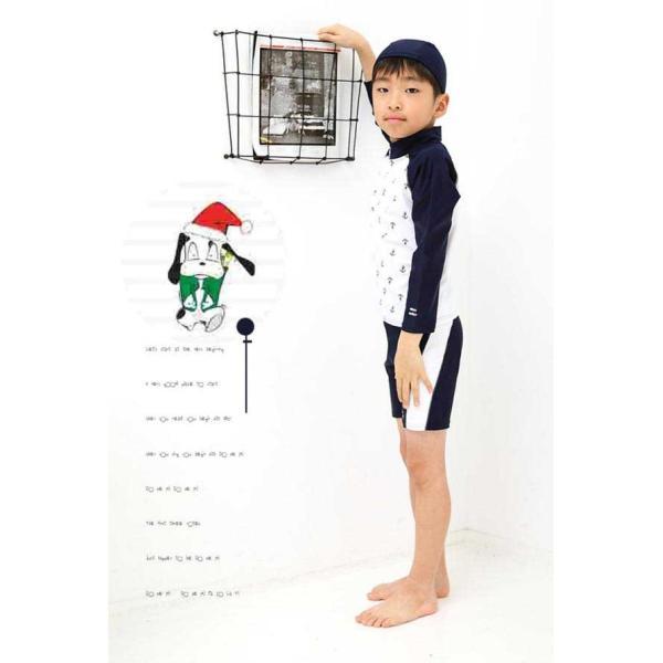 子供 水着 男の子 女の子 キッズ水着 長袖ラッシュガード ハーフパンツ キャップ付き 3点セット ジュニア 90 100 110 120 130cm セパレート mizuki-store 14