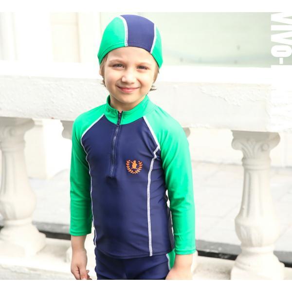 子供 水着 男の子 長袖トップス ハーフパンツ キャップ付き 3点セット ジュニア 90 100 110 120 130cm スクール ラッシュガード|mizuki-store|12