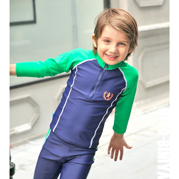 子供 水着 男の子 長袖トップス ハーフパンツ キャップ付き 3点セット ジュニア 90 100 110 120 130cm スクール ラッシュガード|mizuki-store|14