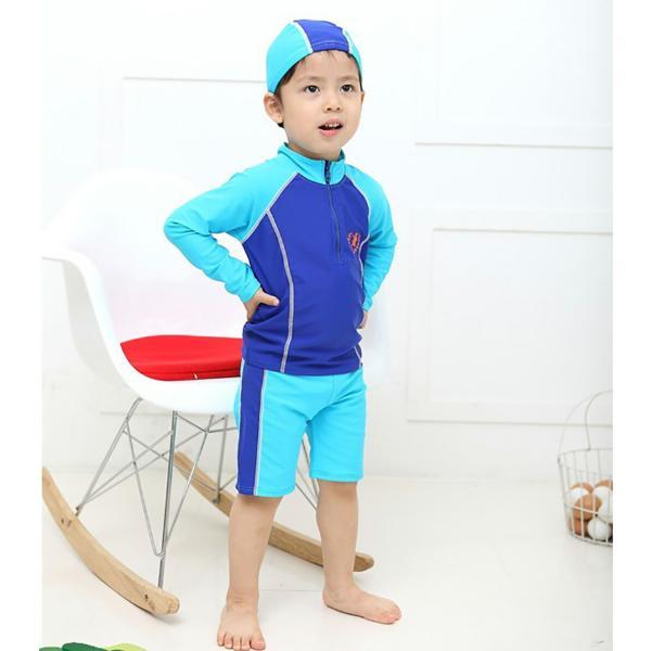 子供 水着 男の子 長袖トップス ハーフパンツ キャップ付き 3点セット ジュニア 90 100 110 120 130cm スクール ラッシュガード|mizuki-store|18
