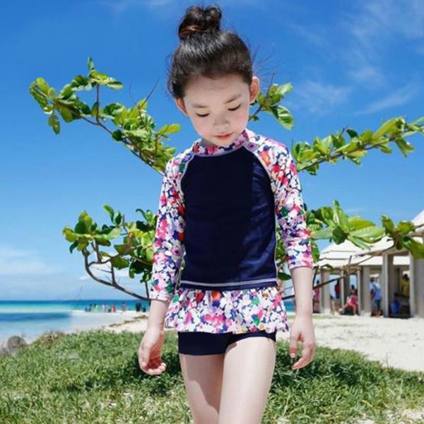 キッズ 水着 女の子 セパレート 子供 ジュニア 3点セット 長袖トップス スカート風パンツ スイムキャップ mizuki-store 07