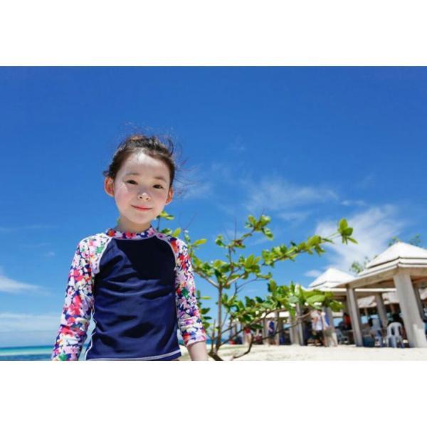 キッズ 水着 女の子 セパレート 子供 ジュニア 3点セット 長袖トップス スカート風パンツ スイムキャップ mizuki-store 08