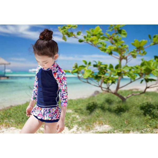 キッズ 水着 女の子 セパレート 子供 ジュニア 3点セット 長袖トップス スカート風パンツ スイムキャップ mizuki-store 09