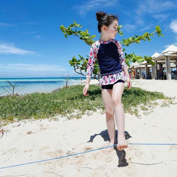 キッズ 水着 女の子 セパレート 子供 ジュニア 3点セット 長袖トップス スカート風パンツ スイムキャップ mizuki-store 10