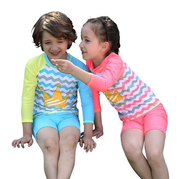 18e6e1cd9feb8 子供 水着 男の子 女の子 長袖ラッシュガード セパレート 子供用 こども ショートパンツ サーフパンツ スイム ...