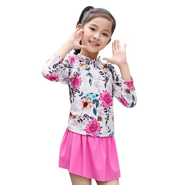 196cde42a2c8b キッズ 水着セパレート 長袖 女の子 トップス スカート一体型 ショーツ 2点セット 7分袖 ...