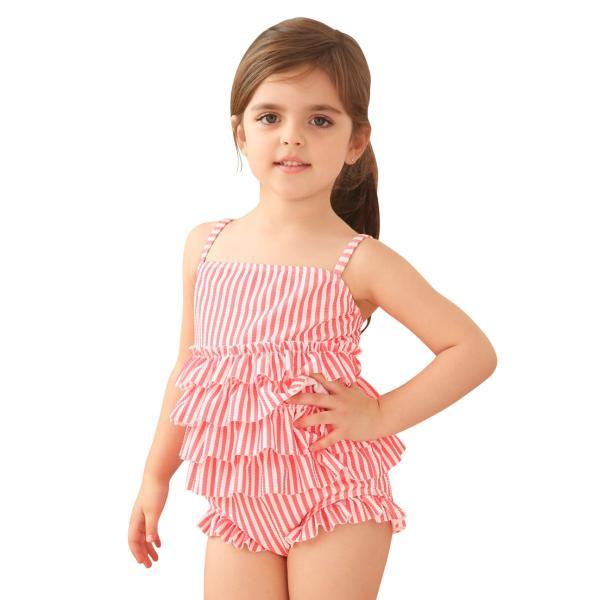 子供 水着 女の子 ワンピース 90 100 110 120 130cm  キッズ ジュニア 女児 ティアード バックフリル ストライプ柄