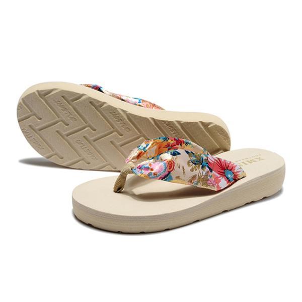 ビーチサンダル レディース 厚底 おしゃれ 履きやすい 痛くない 歩きやすい ビーサン 花 軽い トングサンダル ボヘミアン|mizuki-store