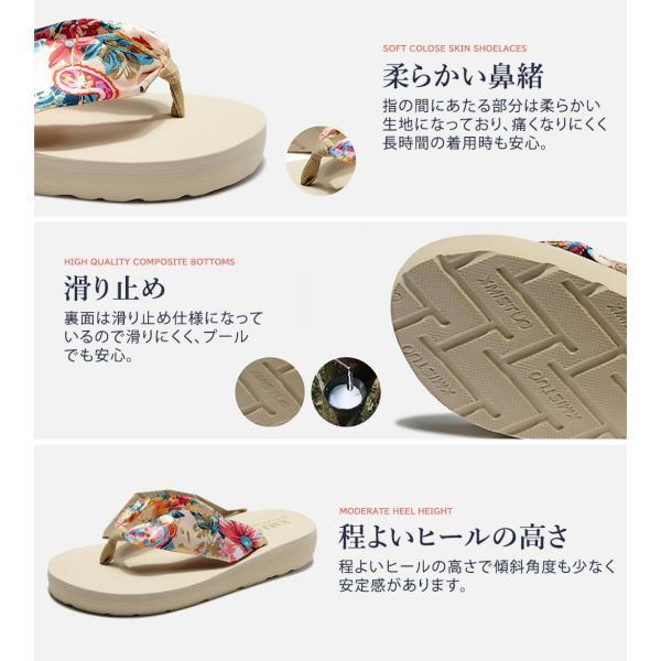 ビーチサンダル レディース 厚底 おしゃれ 履きやすい 痛くない 歩きやすい ビーサン 花 軽い トングサンダル ボヘミアン|mizuki-store|09