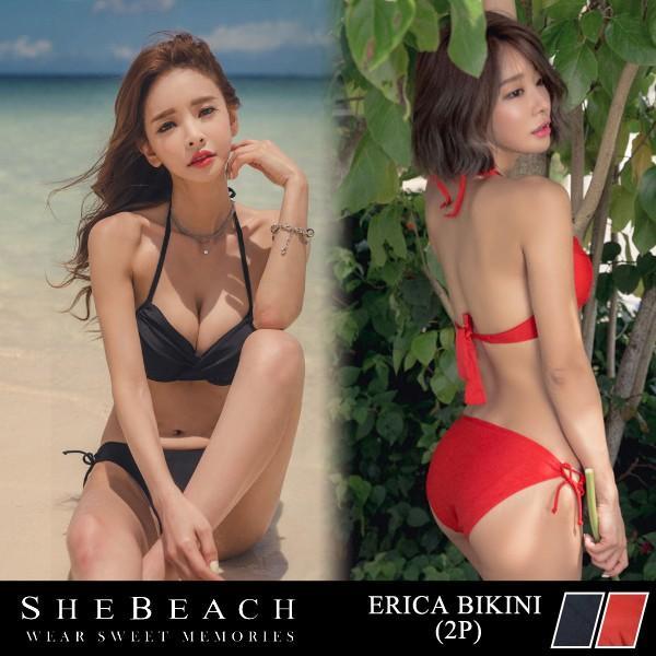 159622584d8fc ビキニ 水着 レディース 2点セット 韓国ブランド SHEBEACH 正規品 シンプル 無地 クロスデザイン セクシー