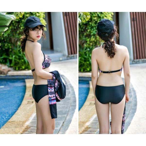 水着 レディース 水着ビキニ 長袖ラッシュガード UV対策 ショートパンツ 体型カバー フィットネス ホルターネック 4点セット 大きいサイズ パッド付き|mizuki-store|12