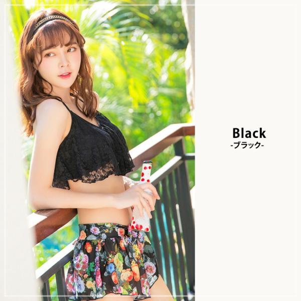 ビキニ 水着 レディース 3点セット 体型カバー 水着 大きいサイズ フレア レース ビキニ 花柄 白 黒 かわいい ショートパンツ mizuki-store 12