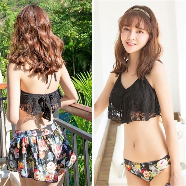 ビキニ 水着 レディース 3点セット 体型カバー 水着 大きいサイズ フレア レース ビキニ 花柄 白 黒 かわいい ショートパンツ mizuki-store 14